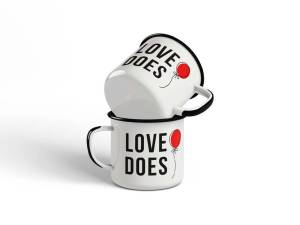 LOVE DOES - MUG - 80 mm - white - dieline